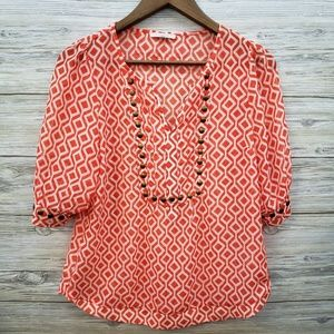 41 Hawthorn Orange White Popover Blouse